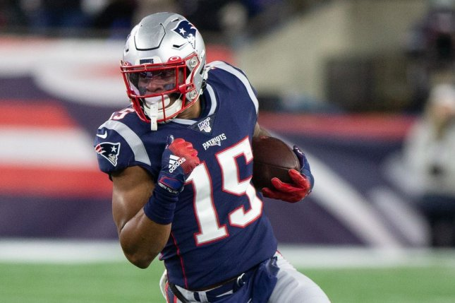 Wide receiver N'Keal Harry, who totaled just 33 catches for 309 yards and two scores in 2020 for the New England Patriots, wants to be traded before training camp. File Photo by Matthew Healey/UPI