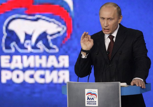 Russian Prime Minister Vladimir Putin speaks at the United Russia party's congress in St. Petersburg on November 21, 2009. UPI/Anatoli Zhdanov