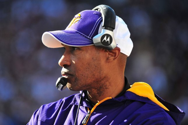 Minnesota Vikings new head coach Leslie Frazier leads his team against the Washington Redskins at FedEx Field in Landover, Maryland on November 28, 2010. UPI/Kevin Dietsch