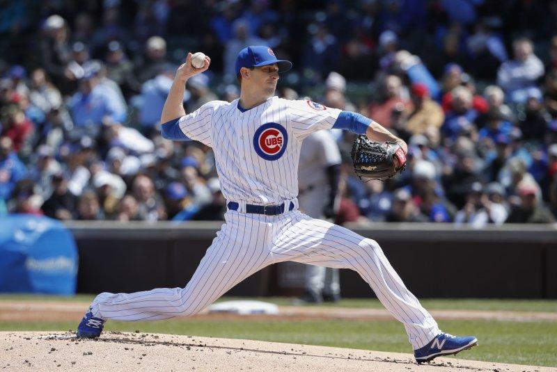 Chicago Cubs starting pitcher Kyle Hendricks delivers a pitch. File photo by Kamil Krzaczynski/UPI