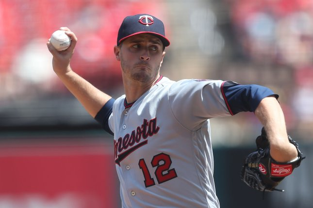 Minnesota Twins starting pitcher Jake Odorizzi delivers a pitch to the St. Louis Cardinals in the fifth inning on May 8, 2018 at Busch Stadium in St. Louis. Photo by Bill Greenblatt/UPI