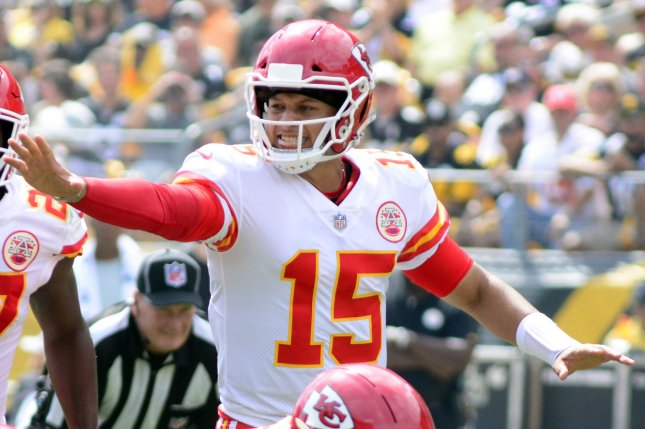 Kansas City Chiefs quarterback Patrick Mahomes (15) signals to his line during the first quarter against the Pittsburgh Steelers on September 16, 2018 at Heinz Field in Pittsburgh. Photo by Archie Carpenter/UPI