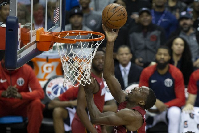 Miami Heat center Bam Adebayo (13) shoots a layup during the third quarter on October 18 at Capitol One Arena in Washington, D.C. Photo by Alex Edelman/UPI