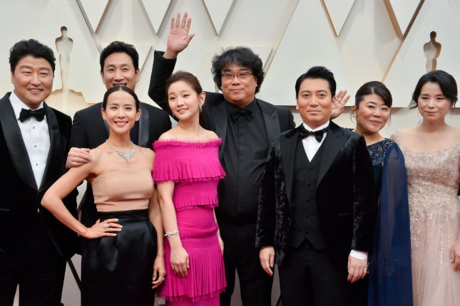 Four films from Bong Joon-ho (C), pictured with the Parasite cast, are now streaming on Hulu. File Photo by Jim Ruymen/UPI