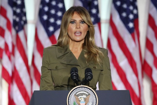 First lady Melania Trump speaks during the second night of the Republican National Convention in the Rose Garden at the White House on Tuesday. Photo by Michael Reynolds/UPI
