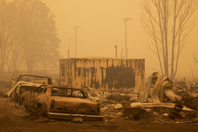 A burned out neighborhood off Main Street in the downtown area of Greenville, Calif., is seen on Friday after the Dixie fire destroyed the town. Photo by Peter DaSilva/UPI