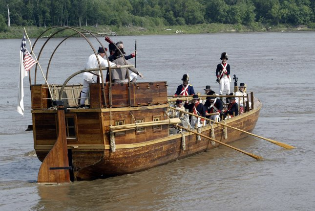 Meriwether Lewis and William Clark returned to St. Louis Sept. 23, 1806, after their historic expedition. A replica of a keelboat they used is maneuvered on the Mississippi River at nearby St. Charles during a ceremony in May 2004, commemorating the start of the nearly 2 1/2-year journey to the Pacific Coast and back. File Photo by Bill Greenblatt/UPI