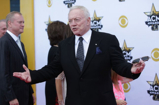 Jerry Jones, owner, president, and general manager of the NFL's Dallas Cowboys, attends the 50th annual Academy of Country Music Awards held at AT&T Stadium in Arlington, Texas on April 19, 2015. File photo by John Angelillo/UPI