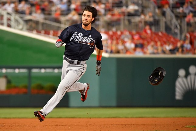 Dansby Swanson and the Atlanta Braves edged the Oakland A's on Saturday. Photo by Kevin Dietsch/UPI