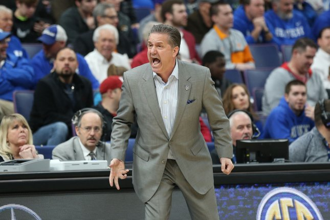 Kentucky Wildcats head basketball coach John Calipari led his team to a 79-44 win over Abilene Christian on Thursday in the first round of the NCAA tournament. File Photo by Bill Greenblatt/UPI
