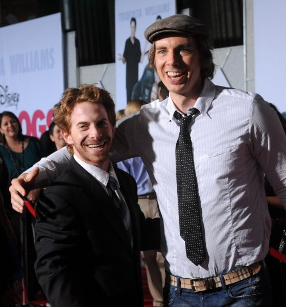 Seth Green (L), a cast member in the new motion picture comedy Old Dogs, is greeted by actor Dax Shepard during the premiere of the film at the El Capitan Theatre in the Hollywood section of Los Angeles on November 9, 2009. UPI/Jim Ruymen