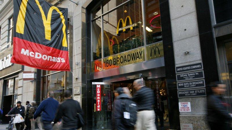 People pass by a McDonald's restaurant on November 8, 2011 in New York City. UPI /Monika Graff.
