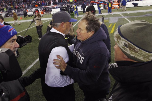 New England Patriots head coach Bill Belichick (R) shakes hands with Buffalo Bills head coach Rex Ryan after the Patriots defeated the Bills 20-13 Nov. 23. File photo by Matthew Healey/ UPI