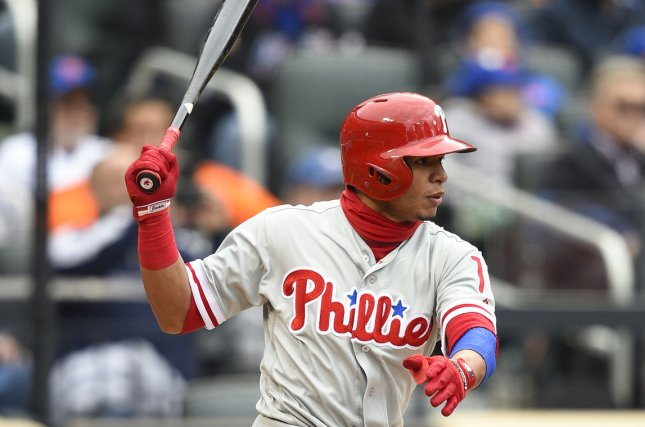 Philadelphia Phillies second baseman Cesar Hernandez, shown here in a file photo, had the winning walk-off single to help the Phillies beat the Nationals. File photo by Rich Kane/UPI