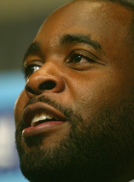 Former Detroit Mayor Kwame M. Kilpatrick welcomes fans, athletes, and members of the media and to the city of Detroit and the State of Michigan for Super Bowl XL in Detroit on January 30, 2006. Prosecutors are seeking a 28-year sentence for corruption. (UPI Photo/Terry Schmitt)