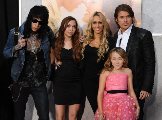 Trace Cyrus, Brandi Cyrus, Noah Cyrus, Tish Cyrus, Billy Ray Cyrus (L to R) attend the motion picture drama The Last Song, at the Arclight Cinerama Dome in Los Angeles on March 25, 2010. UPI/Jim Ruymen