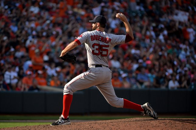 Boston Red Sox relief pitcher Burke Badenhop pitches against the Baltimore Orioles in the 8th inning at Orioles Park at Camden Yards in Baltimore, Maryland on September 21, 2014. The Red Sox defeated the Baltimore Orioles 3-2. UPI/Kevin Dietsch