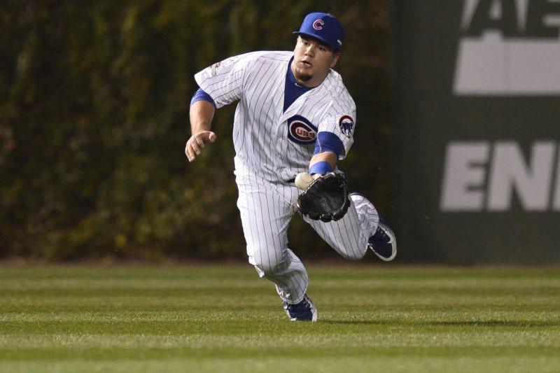 Chicago Cubs left fielder Kyle Schwarber. Photo by Brian Kersey/UPI
