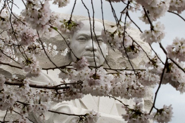 The Martin Luther King Memorial stands with the Cherry Blossoms near the National Mall some 50 years after his assassination, on Wednesday in Washington, D.C. The civil rights leader was assassinated by James Earl Ray in Memphis on April 4, 1968. Photo by Pat Benic/UPI