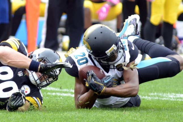 Jacksonville Jaguars cornerback Jalen Ramsey (20) intercepts a pass meant for Pittsburgh Steelers tight end Vance McDonald (89) in the first quarter on October 8 at Heinz Field in Pittsburgh. File photo by Archie Carpenter/UPI
