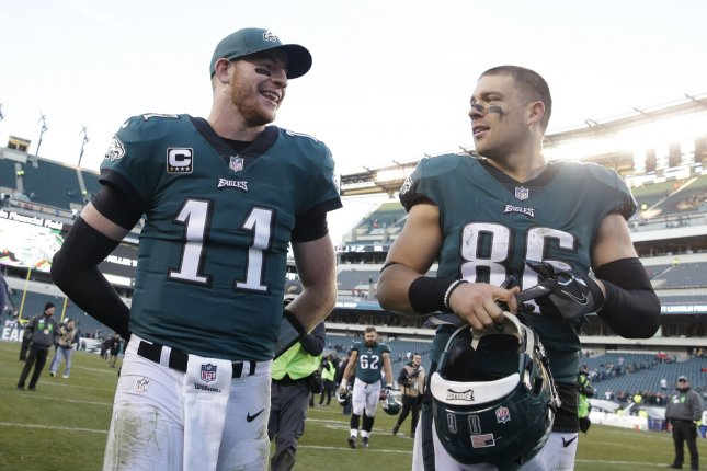 Philadelphia Eagles quarterback Carson Wentz (11) and Zach Ertz (86) smile as they walk off the field after a game against the Chicago Bears in Week 12 of the NFL regular season on November 26, 2017 at Lincoln Financial Field in Philadelphia. Photo by John Angelillo/UPI