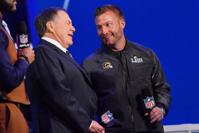 Los Angeles Rams head coach Sean McVay (R) said he watched too much film and over-prepared for Bill Belichick (L) and the New England Patriots before Super Bowl LIII. File Photo by Kevin Dietsch/UPI