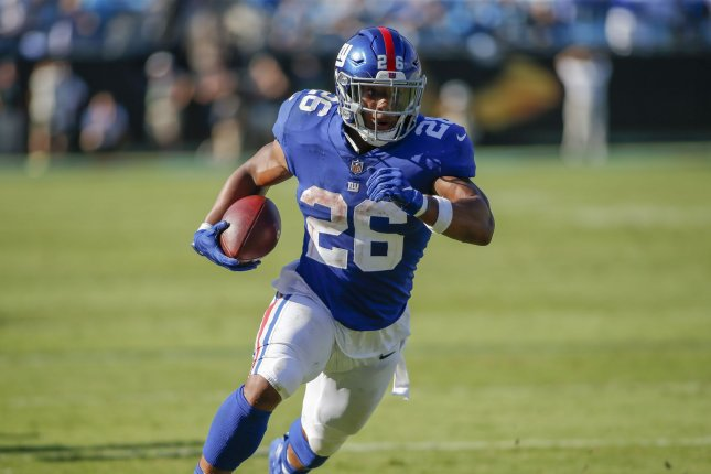 New York Giants running back Saquon Barkley suffered a high ankle sprain during Sunday's game against the Tampa Bay Buccaneers. File Photo by Nell Redmond/UPI