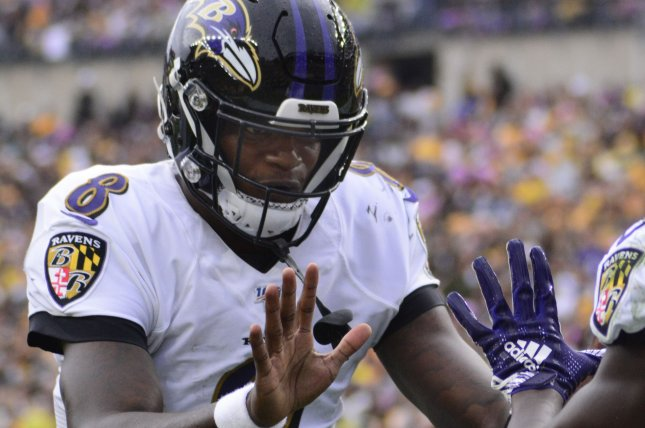 Baltimore Ravens star Lamar Jackson leads all quarterbacks with 308 rushing yards this season, completing 65.4 percent of his throws for 1,271 yards, 11 scores and five interceptions in five starts. Photo by Archie Carpenter/UPI