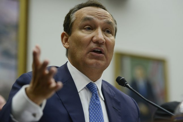 United Airlines CEO Oscar Munoz, seen here at a 2017 U.S. House transportation committee hearing, announced Thursday he will be succeeded as CEO by Scott Kirby in May. File photo by Leigh Vogel/UPI