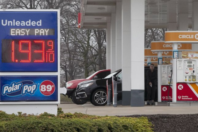 A gas station in Ballwin, Mo., sells fuel for $1.93 per gallon on March 22. AAA said Wednesday the national average for regular gasoline is $1.98. Photo by Bill Greenblatt/UPI