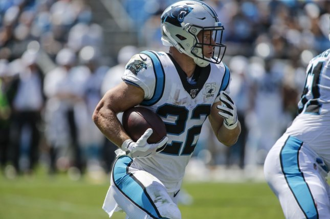 Carolina Panthers running back Christian McCaffrey will make $16 million per season under the terms of the new contract. File Photo by Nell Redmond/UPI