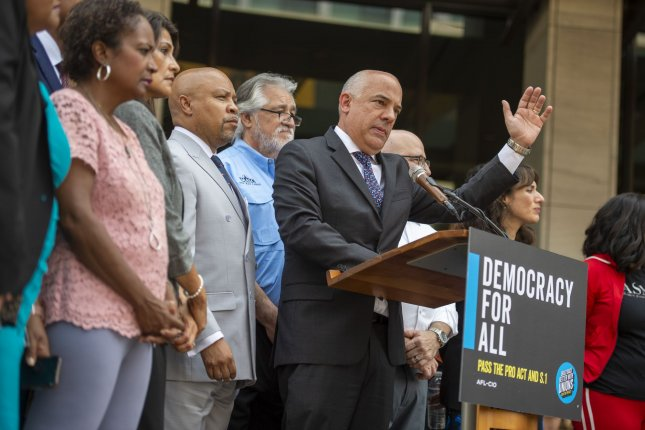 Democratic members of the Texas House speak to reporters in Washington, D.C., onJuly 15about racial injustice within voting rights and support the proposed For the People Act. Photo by Bonnie Cash/UPI