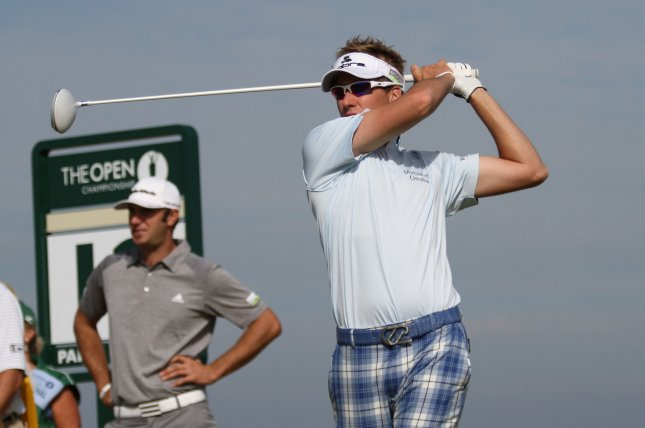 Ian Poulter, shown in a tournament last July, posted a win Thursday as he opened defense of his World Match Play championship. UPI/Hugo Philpott
