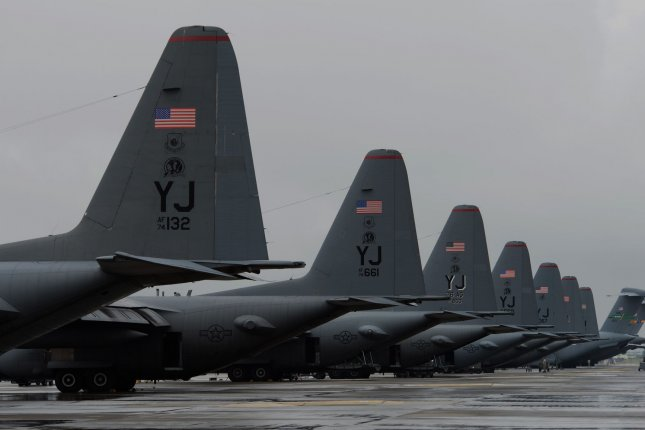 U.S. Air Force C-130 Hercules aircrafts with the 36th Airlift Squadron are parked on the flightline during a readiness week exercise at Yokota Air Base, Japan, Oct. 7, 2013...UPI/ Yasuo Osakabe/DoD