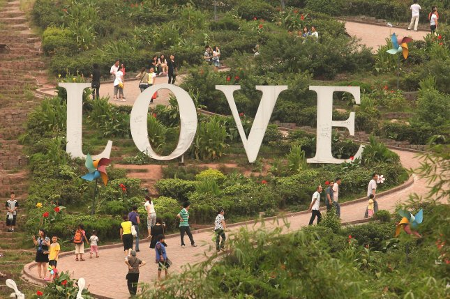 An amusement park in China features a giant Love display. File Photo by UPI/Stephen Shaver.