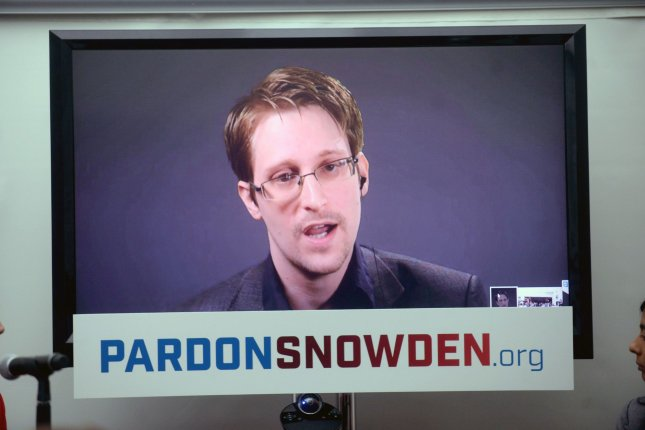 Edward Snowden speaks at a conference via a monitor at the launch of a campaign calling on President Barack Obama to pardon him before he leaves office on Wednesday in New York. Later in the day, he wishes the U.S. presidential candidates talked more about privacy. Photo by Dennis Van Tine/UPI