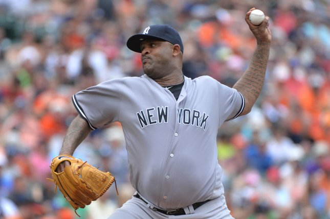 New York Yankees starting pitcher CC Sabathia (52) throws a pitch. File photo by Kevin Dietsch/UPI
