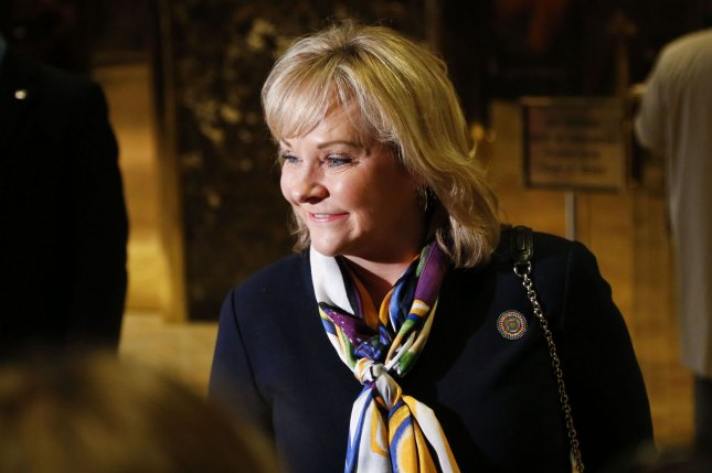 Oklahoma Governor Mary Fallin signs measure that ends tax credits for state wind energy earlier than planned. Pool Photo by Aude Guerrucci /UPI