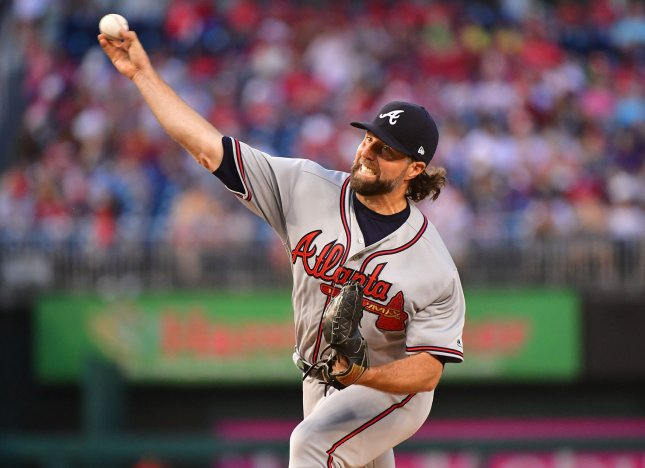 R.A. Dickey and the Atlanta Braves baffled the Washington Nationals on Thursday. Photo by Kevin Dietsch/UPI
