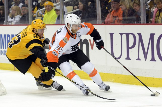Claude Giroux and the Philadelphia Flyers take on the Arizona Coyotes on Thursday. Photo by Archie Carpenter/UPI