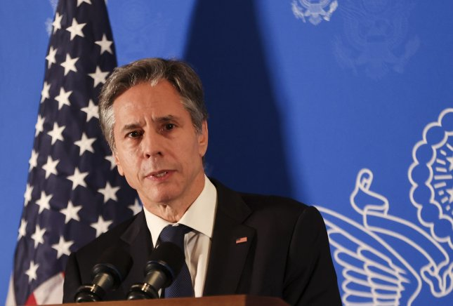Secretary Antony Blinken's State Department on Tuesday announced U.S. entry bans for two former Namibian ministers. Pool Photo by Ronen Zvulun/UPI
