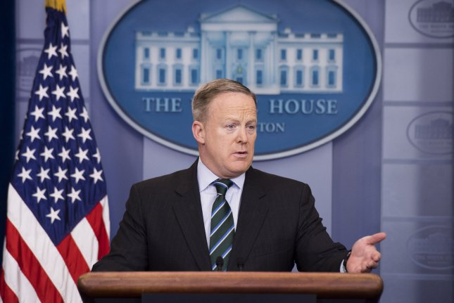 White House Press Secretary Sean Spicer said Thursday that a scheduled ceremony to launch an investigation into claims of voter fraud has been delayed because President Donald Trump had fallen behind schedule. Photo by Kevin Dietsch/UPI