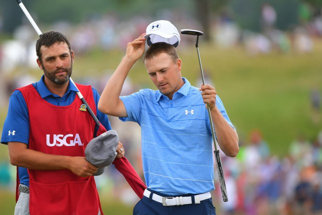 Jordan Spieth tips his cap after putting out on No. 18 during the final round of the 117th U.S. Open golf tournament at Erin Hills golf course on June 18, 2017, in Erin, Wisconsin. Photo by Kevin Dietsch/UPI