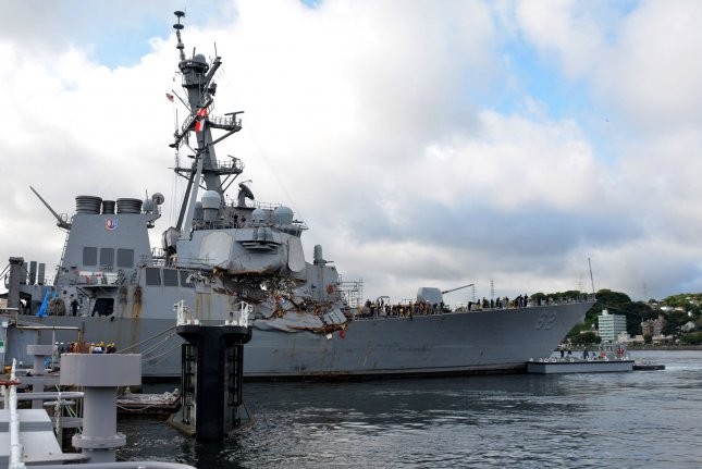 Crew members of the Arleigh Burke-class guided-missile destroyer USS Fitzgerald are likely to blame for failing to give way to a Philippine-flagged cargo ship that crashed into it in June. Photo by MC1 Peter Burghart/U.S. Navy/UPI