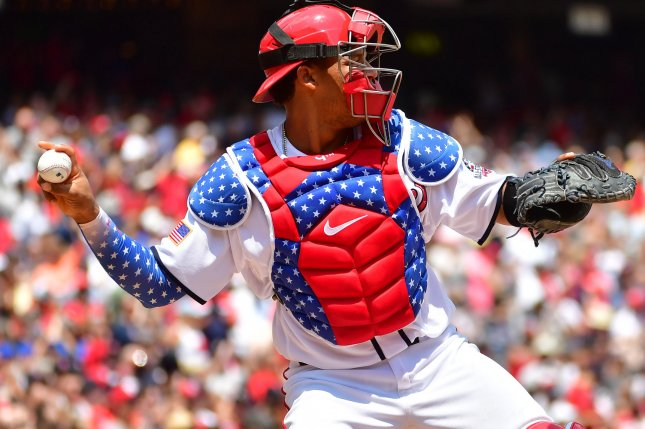 Washington Nationals catcher Pedro Severino (29) throw the ball against the Boston Red Sox Wednesday at Nationals Park in Washington, D.C. Photo by Kevin Dietsch/UPI
