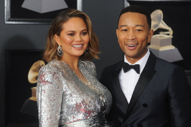 Chrissy Teigen (L), pictured with John Legend, shared a cute picture and video during daughter Luna's first week of preschool. File Photo by Dennis Van Tine/UPI