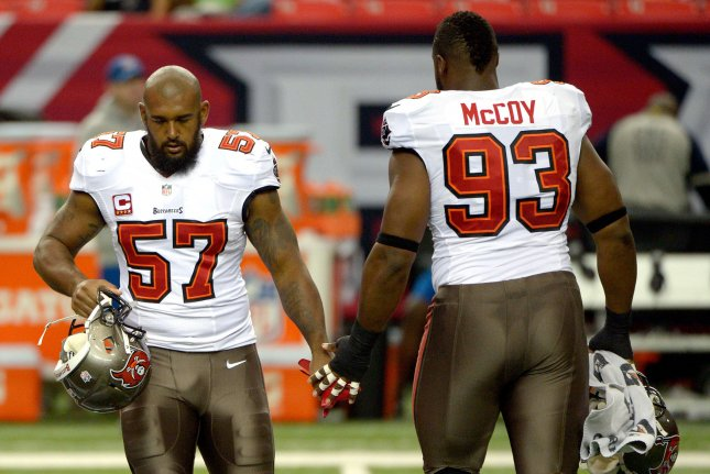 Tampa Bay Buccaneers defensive lineman Gerald McCoy (93) addressed his critics on social media. McCoy has been absent from the team's off-season program for the last five weeks. File Photo by David Tulis/UPI