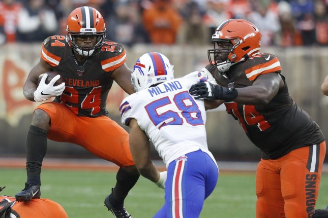 Cleveland Browns running back Nick Chubb (24) is my top fantasy football option for Week 12. File Photo by Aaron Josefczyk/UPI