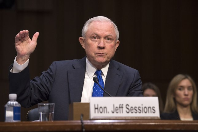 U.S. Attorney General Jeff Sessions testifies Wednesday during a Senate Judiciary Committee oversight hearing. Photo by Kevin Dietsch/UPI