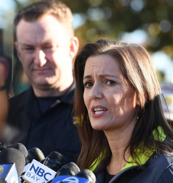 Oakland Mayor Libby Schaaf speaks to the press at the scene of a fatal fire at a rave in Oakland, California on December 3,, 2016. On Saturday, Schaaf warned residents that ICE could potentially conduct immigration raids in the city during the coming days. File Photo by Terry Schmitt/UPI